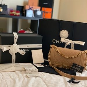 Authentic Beige Chanel Boy Bag